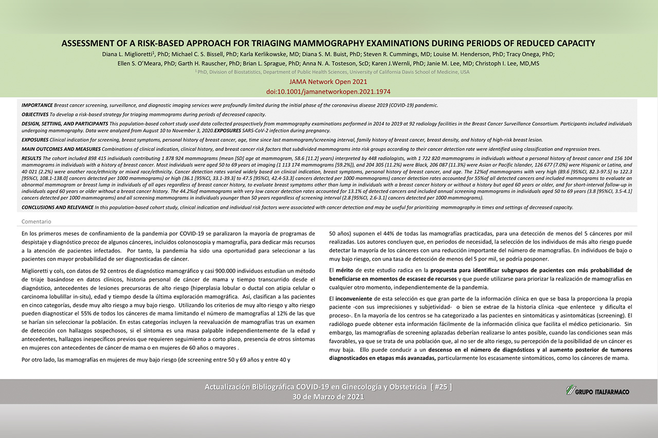 Assessment of a risk-based approach for triaging mammography examinations during periods of reduced capacity